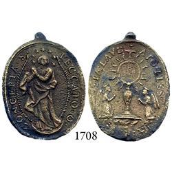 Large brass religious medallion.