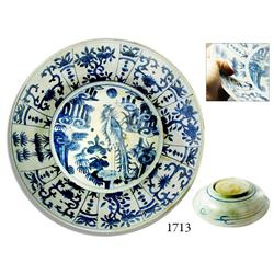 Very large blue-on-white Chinese porcelain bowl with heron motif, late Ming Dynasty.