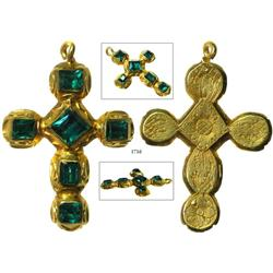 Gold cross studded with 6 high-grade emeralds, intricately engraved on the back.
