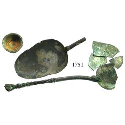 Sundry bronze lot consisting of a spoon (bowl broken) with fist at end of handle, a second spoon (bo