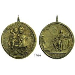 Large bronze religious medallion depicting Santa Teresa, 1600s-1700s.