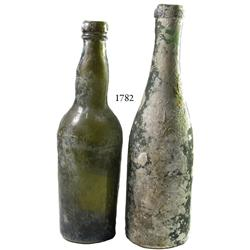 Lot of 2 English black glass bottles, one not from the wreck.