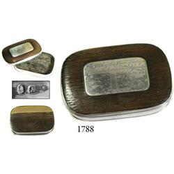 Silver and wood snuff/tobacco box dated 1805 (Battle of Trafalgar).