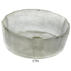 Small glass dish, oval shape, plain edge.