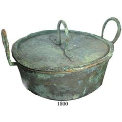 Lidded copper cooking pot.