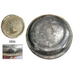 Silver warming-dish lid with two Royal Mail Steam Packet Company seals.