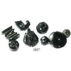 Lot of 8 small pieces of ornately carved ebony.