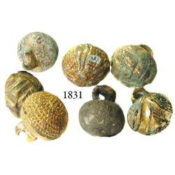 Lot of 7 small, gilt-bronze buttons.