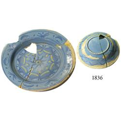 Spanish majolica plate, broken and partially repaired.