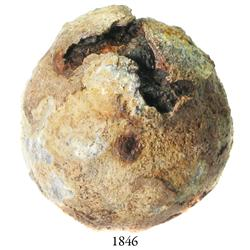 Small iron cannonball coated in lead.
