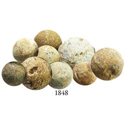 Lot of 9 lead musketballs.
