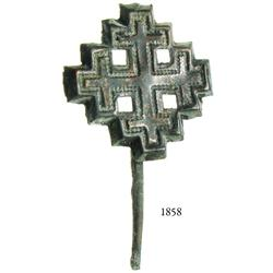 Bronze pilgrim's badge (Order of the Holy Sepulchre) from France, 13th-14th century AD, rare.