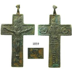 Bronze cross, probably French, 1600s.
