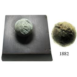 Lot of 2 small shot (one iron grapeshot and one lead musketball on a stand), 1600s-1700s.