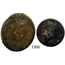 Lot of 2 pewter buttons, 1600s-1700s.