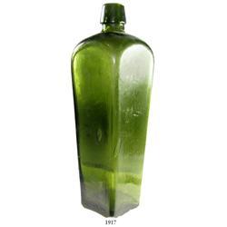 """Black glass """"case gin"""" bottle, early 1800s."""