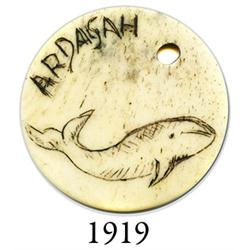 "Scrimshawed whalebone disk inscribed with whale and ""Ardagah,"" mid-1800s."