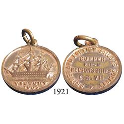 Small medallion commemorating Nelson's HMS Victory (retired from service in 1812), struck in 1905 by