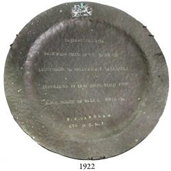 1915 copper plate made from the dome of the Helles Point (Gallipoli) lighthouse, rare and historical