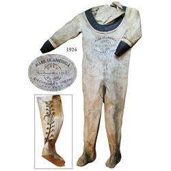 Mark V diving dress (canvas suit) with 1915 Schrader stencil.