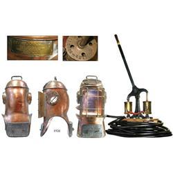 Miller-Dunn 3 brass dive helmet (ca. 1945) with original hose and handled pump.