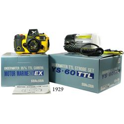 Ca.-1970 marine underwater camera (Sea & Sea model Motor Marine II EX, 35 mm) and strobe (YS-60 TTL)