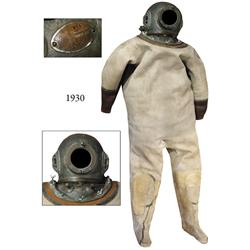 1970s compete Korean hardhat diving dress with bronze helmet and 12-bolt collar and rubber-lined can