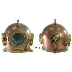 1980s bronze Russian diving bonnet (helmet).