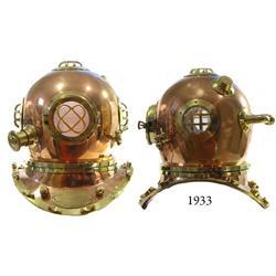 "Modern replica of a U.S. Navy Schrader ""Mark V"" bronze diving helmet."