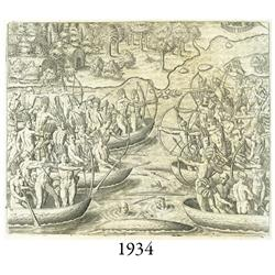 1591 Theodore deBry engraving of warring native Americans in canoes from a German book.
