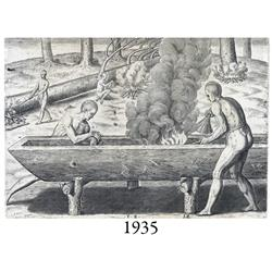 1591 Theodore deBry engraving of native Americans making a canoe from a German book.