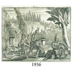 1671 Ogilby engraving of native Americans melting gold and silver.