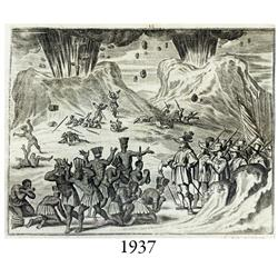 1671 Ogilby engraving of Europeans meeting native Americans in front of erupting volcanoes.