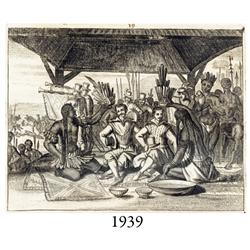 1671 Ogilby engraving of native Americans and Europeans.