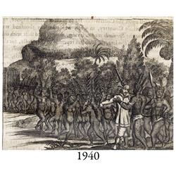1671 Ogilby engraving of a single European among naked native Americans.