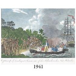 Ca.-1790 hand-colored English copper-plate engraving of Captain Cook's landing at Tanna, New Hebride