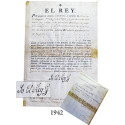 Document from 1782 signed by King Charles III.