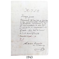 Chilean mint document from 1788 signed by Ambrosio O'Higgins (military governor of Chile and later V