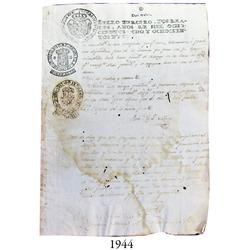 Document from 1817 from Colima, Mexico, with many seals and signatures.