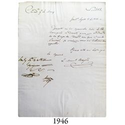 Mint document from 1826 from Santiago, Chile.
