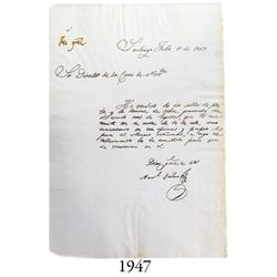 Document from 1849 from Santiago, Chile, signed by General Manuel Búlnes.