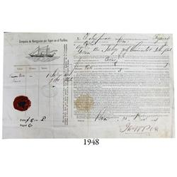 Ship's bill of lading for Peruvian coins being shipped in 1881 on the steamship Pizarro bound for Ca