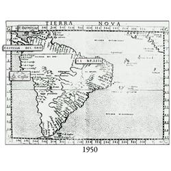 "Mid- to late 1500s map of South America entitled ""Tierra Nova,"" with Latin text on back starting wit"