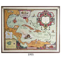Large vintage (1940) treasure map entitled A Treasure Hunter's Map of the West Indies and the Spanis