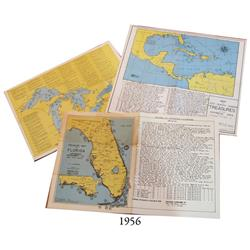 Lot of 3 vintage (1952) treasure maps by F.L. Coffman showing wrecks around Florida, wrecks in the C