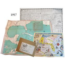 Lot of 3 large vintage (1950s) sunken/buried treasure maps by Rand-McNally, Drake & Sons and Fred C.