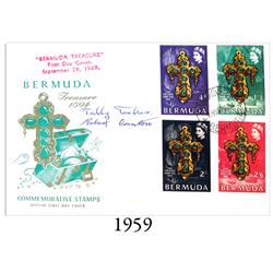 Bermuda commemorative First Day Cover (stamps) of September 29, 1969, signed by Teddy Tucker and fel