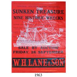 1975 large poster for the W.H. Lane & Son auction Sale of Sunken Treasure of September 26, 1975, fea