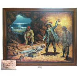 Framed oil-on-canvas painting of pirates in a cave by Augustus Lenox (1960s painter of Western scene