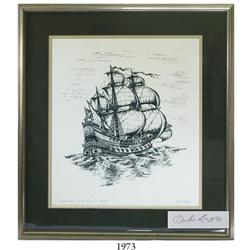 Framed 1981 Duke Long serigraph of the Concepcion printed with indigo dye salvaged from the wreck, l